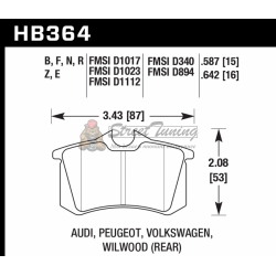 Колодки тормозные HB364N.587 HAWK HP Plus Audi A3, A4, A6, A8, S3, S4, S6, S8 & TT - Rear